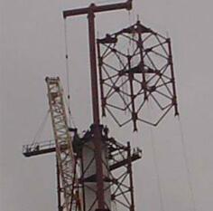Монтаж башни-трубы Н=100 м при помощи монтажной мачты