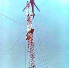 Монтаж оттяжечных вант мачты Н=250 м при помощи вертолета