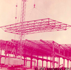 Монтаж пространственного блока покрытия размером 12х24м производственного здания