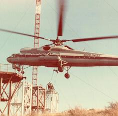 Монтаж секций мачты Н=250 м при помощи вертолета